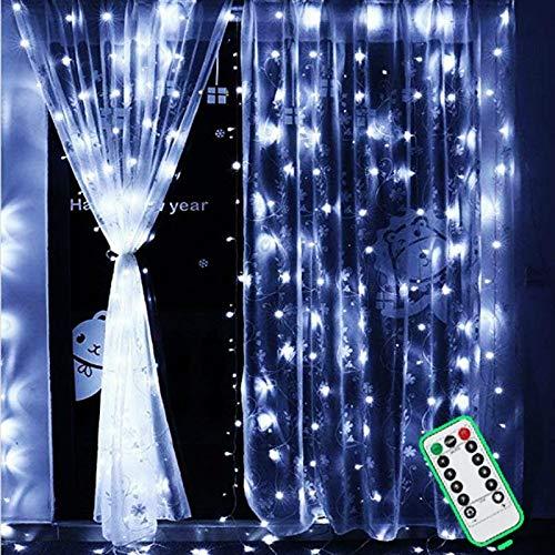 Rideau Lumineux avec T/él/écommande Guirlandes Lumineuses Rideau Etanche IP67 Rideau de Fen/être Light Anniversaire String Light Decoration de No/ël Mariage 3m*3m 300 LED 8 Modes dEclairage F/ête