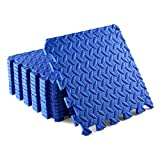 Yes4All Interlocking Floor Mats with Border – Foam Floor Mats/Gym Floor Mats with EVA Interlocking Tiles (12 Square Feet – Blue – 12 Tiles)