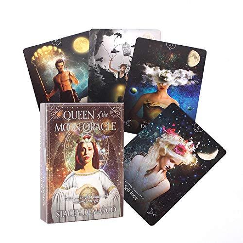 44PCS Königin des Mondes Oracle Karten Hochwertige dauerhafte Tarotkarten Deck Brettspiel für Familienfeier Tischgebrauch für den Heimgebrauch