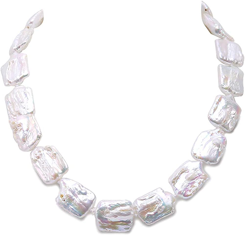 JYXJEWELRY Baroque Pearl Necklace 17-18mm Square White Freshwater Cultured Pearl Necklace 19