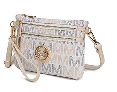MKF Crossbody Bags for Women - Removable Adjustable Strap Handbag Wristlet - Small Vegan Leather Messenger Purse White