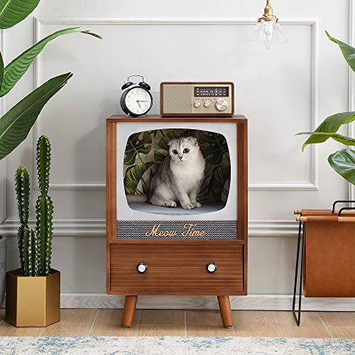 Cherry Tree Furniture MIHOS Meow Time Wooden Vintage TV-Style Cat Condo, FSC-Certified
