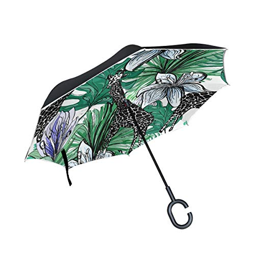 Buy Bargain PNGLLD Giraffe Animal Leaves Flower Inverted Umbrella Double Layer Reverse Folding Umbre...