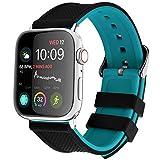 Fullmosa Cinturino per Apple Watch 42mm/44mm, Cinturini in Silicone con Fibbia in Acciaio Inossidabile Compatibile per iWatch Serie SE 6 5 4 3 2 1, Superiore Nero + Inferiore Blu 42mm/44mm