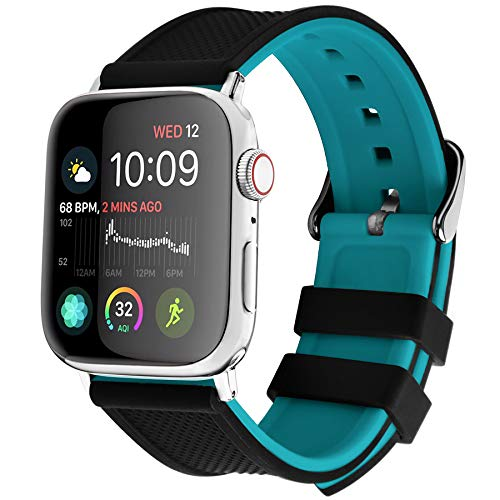 Fullmosa 8 Colores Correa de Silicona Compatible con Apple Watch Series 5/4/3/2/1, para Apple Watch 38mm 40mm 42mm 44mm, Arriba Negro/Abajo Azul 42mm/44mm