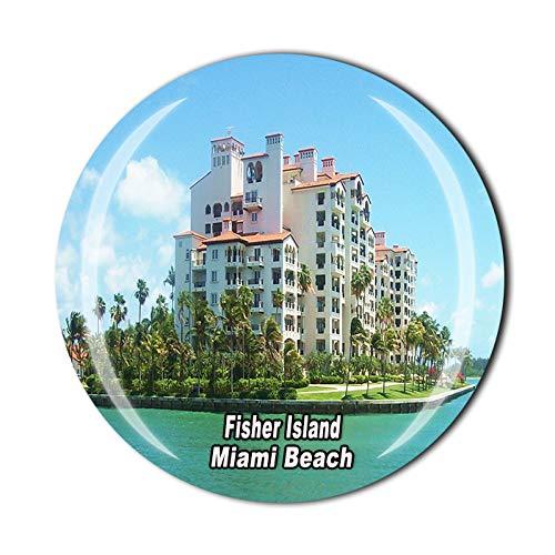 Time Traveler Go Fisher Island Miami Beach Florida USA Imán para nevera 3D regalo de recuerdo para el hogar y la cocina