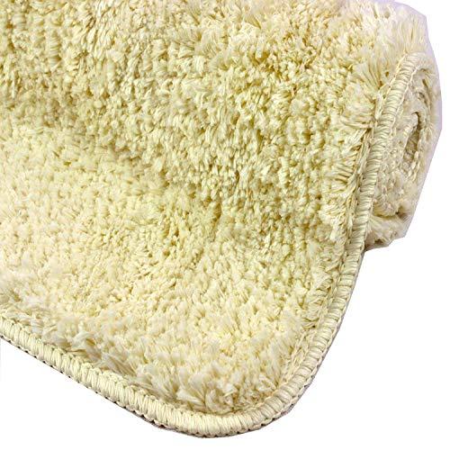 Badkamer Tapijt Crème – Badmat kan gecombineerd worden tot een set – Antislip & Maschinewasbaar – Toiletmat 45x45cm MET WC-Uitsparing