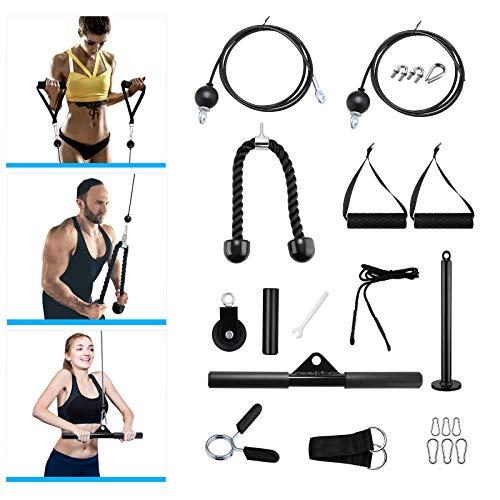 KOSIEJINN 20 Piezas de Sistema de polea de Cable de Fitness, Equipo de Entrenamiento en el hogar, Cable Fijo de 1,8 m y Cable de Longitud Ajustable de 2,5 m para Flexiones, Flexiones de bíceps