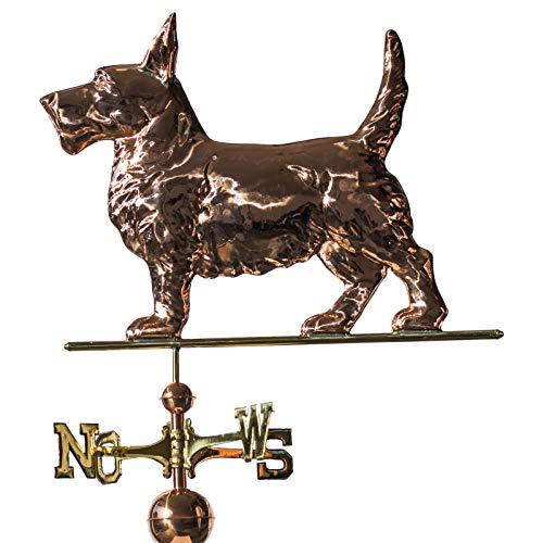 Große Linneborn Kupfer Wetterfahne, Motiv: Hund, Gesamthöhe: 111 cm, Terrier, Dachschmuck, Wetterhahn