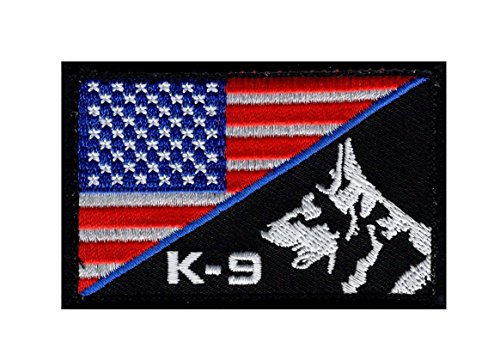 K-9 USA American Flag Thin Blue Line Police Swat Hook Fastener Patch (PK-1A)
