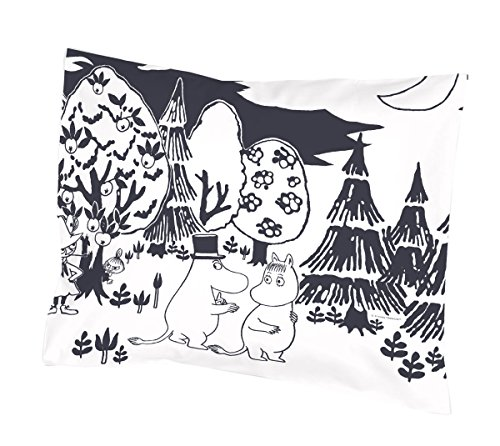Moomin - Kussensloop -Avond-zwart en wit, 55x65 cm (Finlayson)