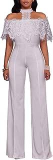 Womens Off Shoulder Lace Halter High Waist Wide Leg Pants Jumpsuit Romper