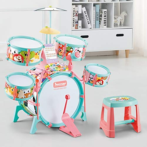 FORYULIK US Fast Shipment Jazz Drum Set for Kids, Electronic & Manual Drumming Drumset with Microphone,LED Light,5 Drums,2 Drumsticks,Stool Music Instruments,to Stimulating Children's Creativity