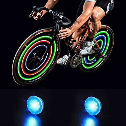 MapleSeeker Bike Wheel Lights Bike Spoke Lights with Batteries Included, Waterproof Bicycle Wheel Lights for Safe Cycling, Easy to Install Cool Bike Lights for Wheels (2-Pack Blue)