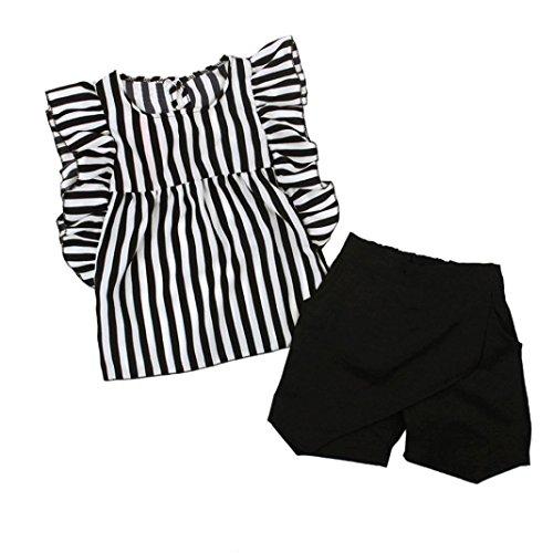 Ensembles de Fille - Toddler Enfants Bébé Filles Outfit Vêtements Chic Rayé sans Manches T-Shirt Tops + Shorts Pantalon Set Ba Zha Hei (100/2-3, Noir)
