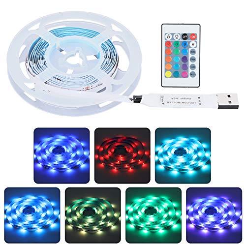 Tira de luces de 60 LED, tiras de luz LED USB 5050 de 2 M / 6,6 pies con control remoto RGBW de 24 teclas para dormitorio, fiesta, decoración del hogar