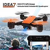 Moniclern IDEA7 720 P Grand Angle Caméra WiFi FPV GPS Drone Altitude Tenir Pliable Quadcopter RC