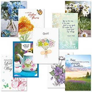 Get Well Greeting Card Value Pack – Set of 18 (9 Designs), Large 5 x 7 inches, Envelopes Included, by Current