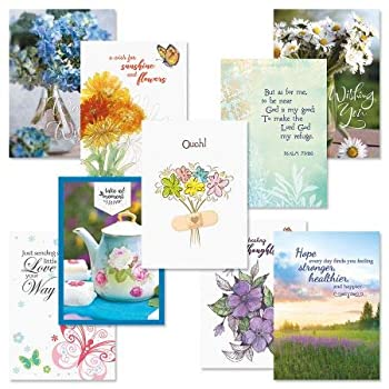 Get Well Greeting Card Value Pack – Set of 18  9 Designs  Large 5 x 7 inches Envelopes Included by Current