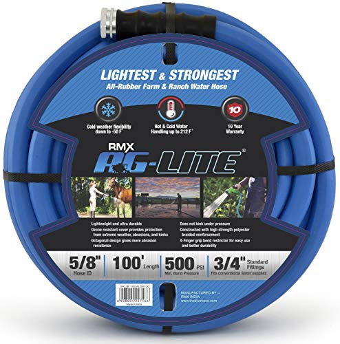 """AG-Lite Rubber Hot & Cold Water Rubber Garden Hose: Ultra-Light & Super Strong (5/8"""" x 100') - BSAL58100"""