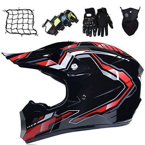 Casco Cruzado Niños Casco de Moto Rojo Negro Brillante Set (5 piezas) Casco de Motocross Integral para Adulto Casco de Seguridad de Descenso Bicicleta MTB