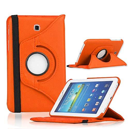 COOVY Funda para Samsung Galaxy Tab 3 7.0 GT-P3200 GT-P3210 SM-T210 SM-T211 Smart 360º Grados ROTACIÓN Cover Case Protectora Soporte | Color Naranja