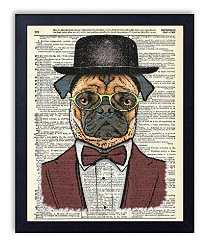 Pugsly Dapper Pug Dog Art Vintage Wall Art Upcycled Dictionary Art Print Poster 8x10 inches, Unframed