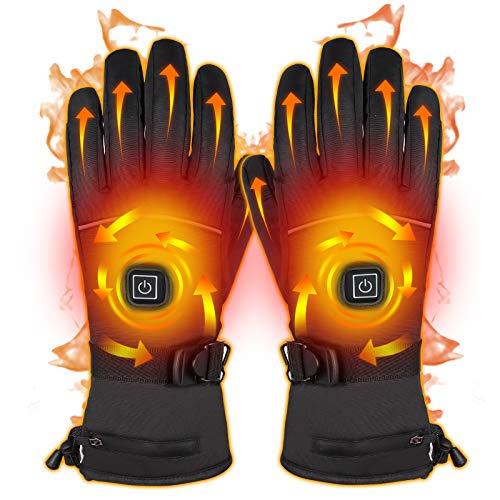 Qdreclod Beheizbare Handschuh Mit Mit wiederaufladbarem Akku, 3 Stufen der einstellbaren Temperatur, Herren Damen Winterhandschuhe Winddicht Warm Mit Touchscreen-Funktion