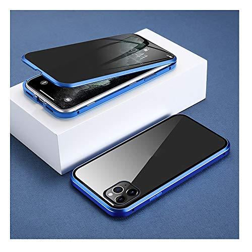 XWCG Funda para iPhone 12/12 Mini/12 Pro MAX Adsorción Magnética Parachoques Metal con 360 Grados Protección Case Cover Vidrio Templado Cubierta Anti-Peep Carcasa,Azul,12