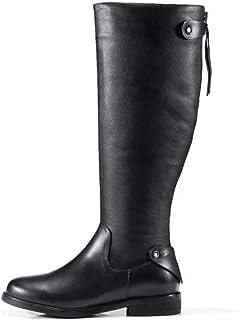 calidad garantizada WHL.LL Mujer Cabeza rojoonda PU botas botas botas Altas Antideslizante Resistente Al Desgaste Plano Las botas Acogedor botas De Caballero  punto de venta