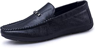 Trendy Leisure Boat Shoes Leisure Men Loafers for Boat Shoes Slip On Genuine Leather Rubber Sole Round Toe Non-Slip Solid Color Hand-Made Stitching Metal Decor (Color : Black, Size : 6 UK)