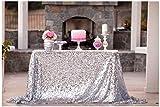 50''x72''Silver Sequin Tablecloth, Wedding Table Cloth, Sparkle Sequin Linens, Glitz, Sequin Cake Tablecloth, Sequin Tablecloth (50''x72'')