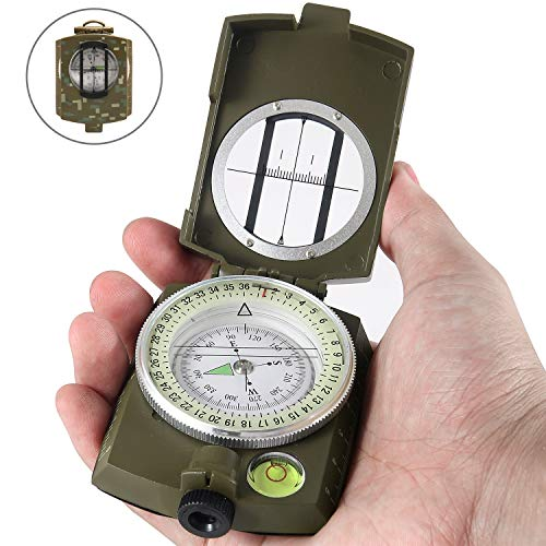 Eyeskey Multifunctional Military Lensatic Tactical Compass | Impact Resistant and Waterproof |Metal Sighting Navigation Compasses for Hiking, Camping, Motoring, Boating, Boy Scout (Camouflage)