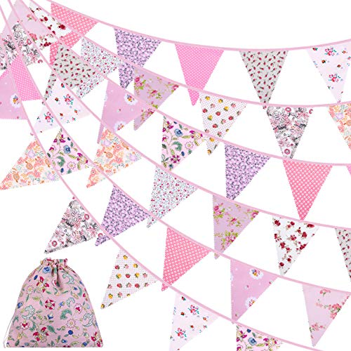 ADXCO 41 Feet Fabric Bunting Banner Vintage Bunting Flag 42 Pieces Floral Pennants Triangle Flags Cloth Garland for Birthday Wedding Party Home Garden Baby Shower Decor, Pink