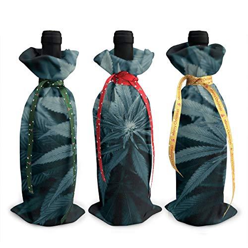 Bolsas de regalo para botella de vino tinto de cannabis con cordón pa