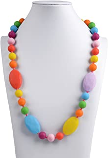 V-TOP Chewable Silicone Baby Teething Necklace for Mom to Wear, Flat and Round Beads Baby Toy -BPA Free