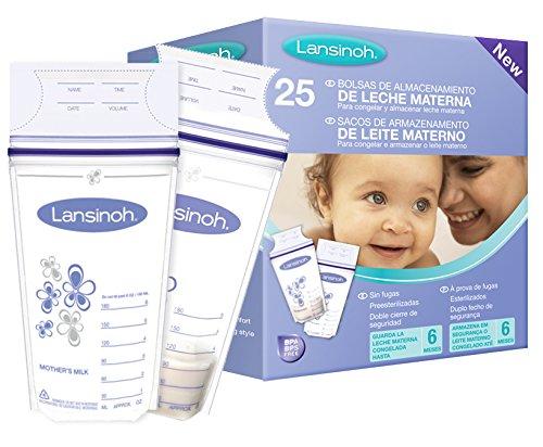 Bolsas de Almacenamiento de Leche Materna, 25 uds de Lansinoh. Bolsas preesterilizadas para conservar la leche materna extraída.