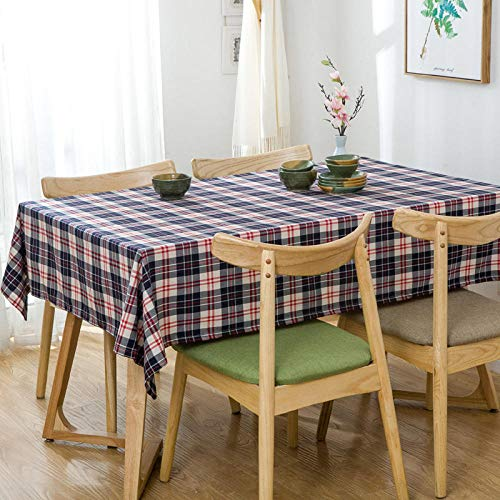 GTWOZNB Table Cover, Plastic Table Cloth, Tablecloth for Party, Birthday, Wedding Lattice small fresh stripes-black White Red_100*160cm