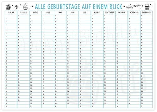 Jahresunabhängiger Geburtstags-Planer Kalender in DIN A3 Wandkalender für Geburtstage und Hochzeitstage auf einen Blick
