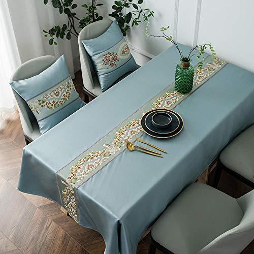 Yinaa Mantel Mesa Rectangular Decorativo Jacquard Simple Antimanchas Manteles Cocina Gris Azulado 120 × 180cm