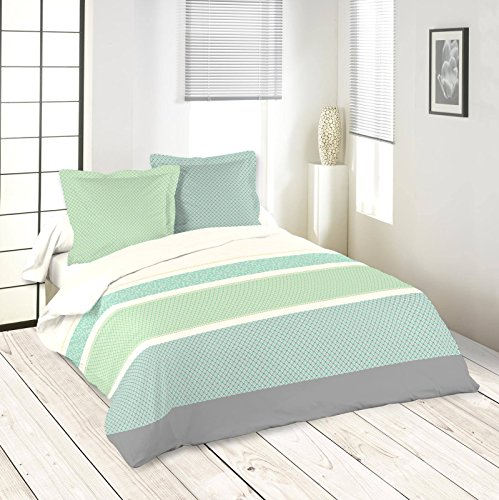 Lovely Casa Baltique Housse DE Couette 2 TAIES, Coton, Vert, 240x220 cm