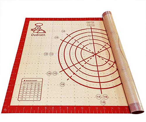 Silicone Baking Mat Pastry Mat Non Slip Non Stick Extra Large Bread Kneading Board with Measurements for Rolling Dough Thicken