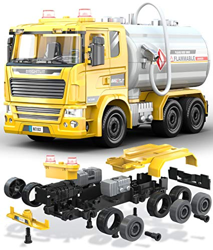 Fuel Tanker Truck - 88 Pcs Take Apart STEM Toys Build Your Own Construction Carrier Truck, DIY Building Assembly Kit w/ Lights and Sounds, Educational Gift Idea for Kids Ages 5 6 7 8 9 Years Old
