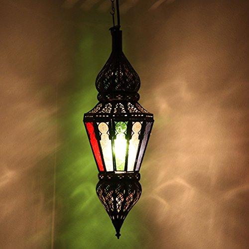 Casa Moro Arabische Pendelleuchte marokkanische Hängelampe Nura Multi H54 cm aus Metall & Relief-Glas | Echtes Kunsthandwerk aus Marokko | Handmade Lampe schöne orientalische Dekoration | L1810