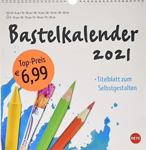 Bastelkalender 2021 weiß groß - mit Titelblatt zum Selbstgestalten und Monatskalendarium - Format 32 x 33 cm