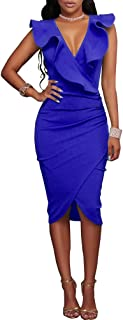 Women's Ruffles V-Neck Ruched Cocktail Club Evening Party Falbala Bodycon Dress