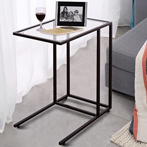 CASART C-förmiger Tisch, Tischplatte aus gehärtetem Glas, Sofa, Beistelltisch, Laptop, Notebook, Snack, Couchtisch für Wohnzimmer und Schlafzimmer