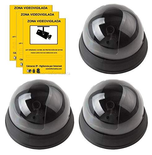 Pack camara simulada disuasoria Seguridad IP Falsa Fake de Imitacion con Pegatina Zona vigilada. Regalo pegatina zona vigilada. Cámara no real con led iluminación (3)