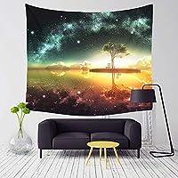 HYTGD壁掛け 壁飾け星空の美しい夜景パターンタペストリー熱帯の木々リビングルームの装飾壁掛けヨガビーチタオル