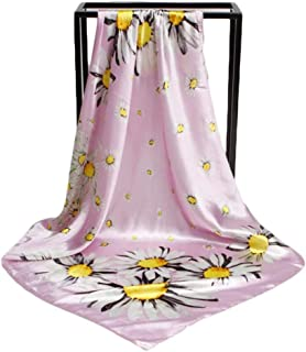 Fashion Lady Silk Scarf 90cm Square Towel with Small Daisy Flower Retro Decorative Scarf (Color : 03, Size : 90 * 90m)